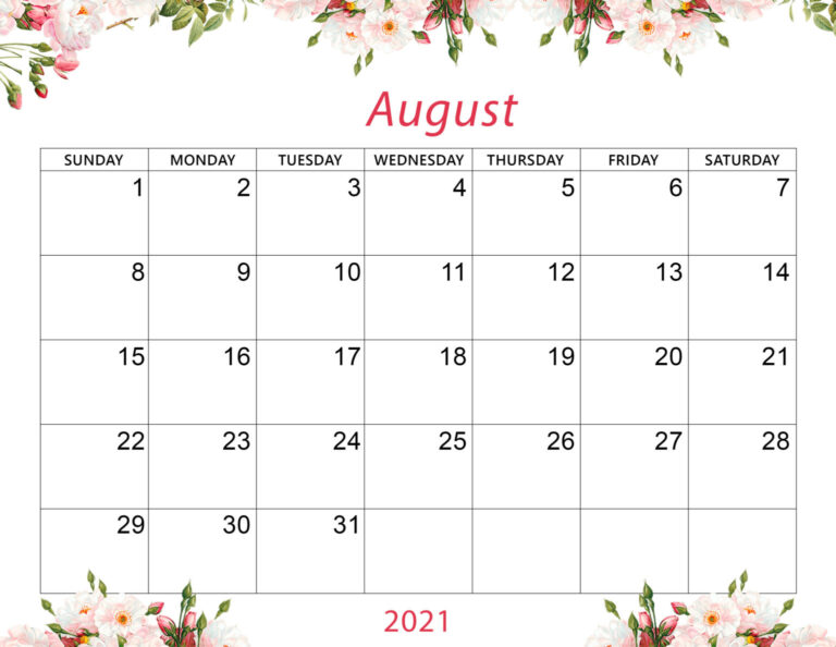 Cute August 2021 Calendar